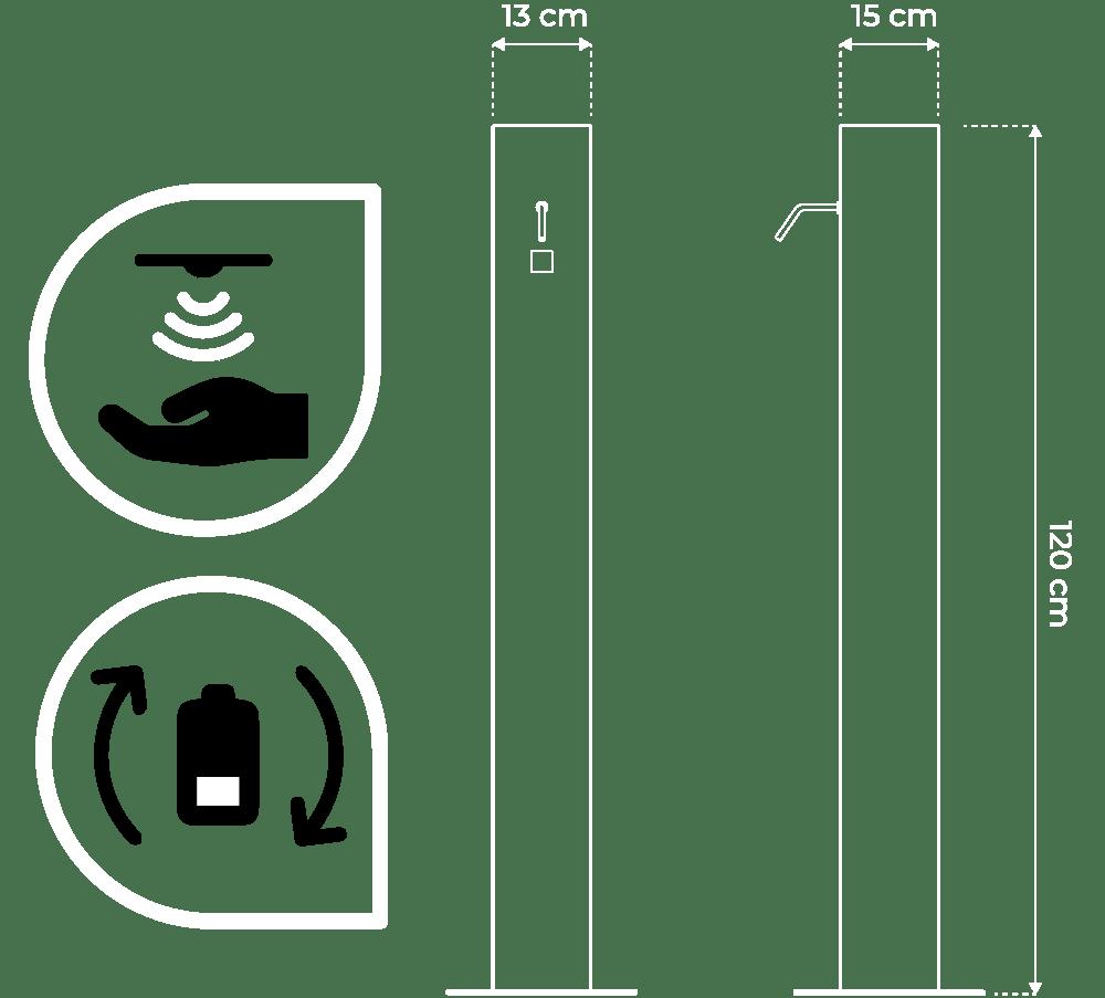 Distributeur de gel hydroalcoolique rechargeable sans contact